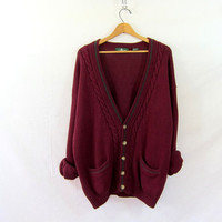 boyfriend sweater // vintage oversized maroon knit cardigan sweater // cable knit // size XL