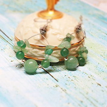 Green Quartz Hoop Earrings, Aventurine Chips and Green Quartz Wire Earrings in Sterling Silver,Natural Gemstone Earrings, october gift guide