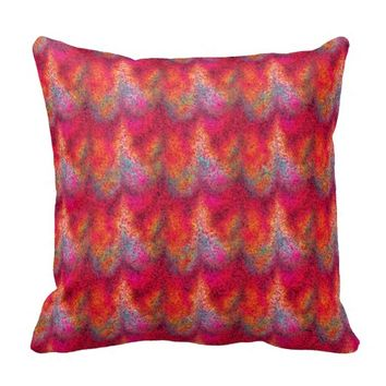 Tie Dyed Glitter Waves Sq Throw Pillow
