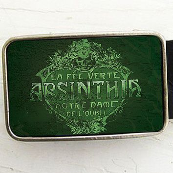 Vintage Absinthe Label Belt Buckle by bmused