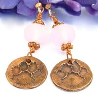 Copper Dog Paw Print Earrings Handmade Pink Lampwork Rescue Jewelry
