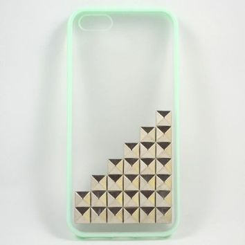 ROKE(TM) Personalized Silver Pyramid Studs Clear Case for Iphone 5 5s - Mint Green