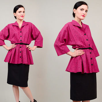 80s does 50s Pink Peplum Cinch Waist Retro Dolman Sleeve Button Front Wiggle 1980s Secretary Midi Dress Small S