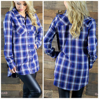 Best You've Ever Plaid Navy Top
