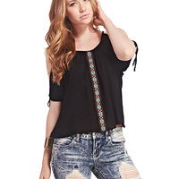Aztec Tape Cold-Shoulder Top | Wet Seal