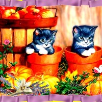 Autumn Kittens in Flower Pots, Kitchen Digital Art