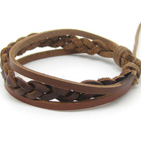 Bangle leather bracelet woven bracelet unisex bracelet men bracelet women bracelet With brown leather Woven 1SZ-LH-044