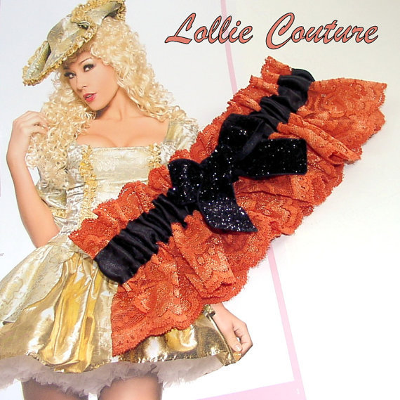 Halloween Costume Garter - Orange and black lingerie lace Garter