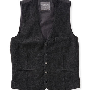 Aeropostale Tailored Tweed Vest - Charcoal Heather Grey,