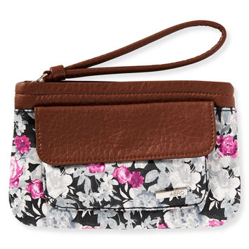 Aeropostale Floral Faux Leather Wristlet - Black, One