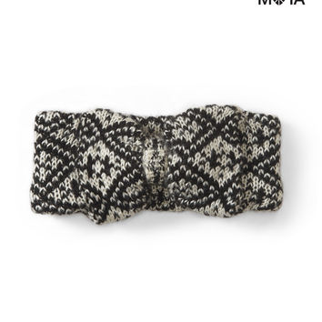 Aeropostale Fair Isle Bow Earband - Black, One