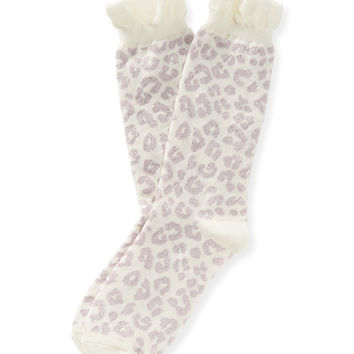 Aeropostale Cheetah Print Ruffle Crew Socks - Cream, One