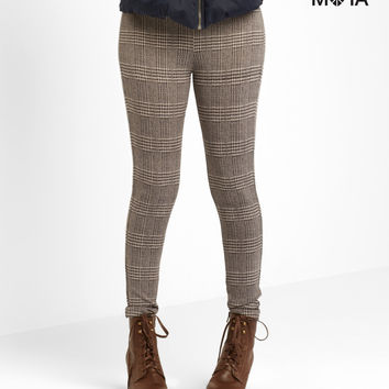 Aeropostale High-Waisted Plaid Leggings - Black,