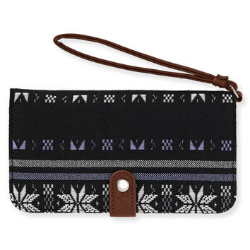 Aeropostale Snowflake Snap-Flap Phone Bifold Wallet - Black, One