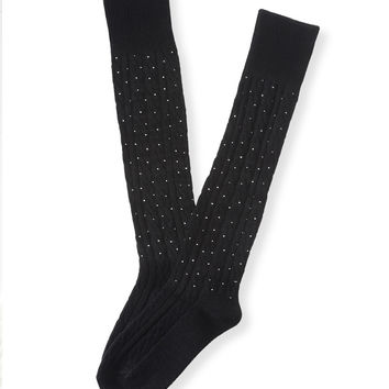 Aeropostale Cable-Knit Sparkle Boot Socks - Black, One