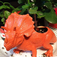 Up-cycled Custom Dinosaur Planter - You choose the Dinosaur and color