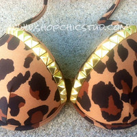Studded Bikini Top SMALL Leopard Push Up