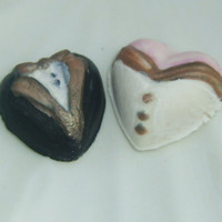 Bride and groom edible gumpaste hearts