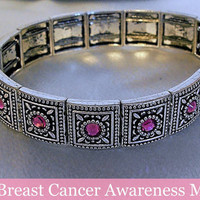 Breast Cancer Awareness Bracelet with Pink Crystals