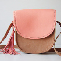 Cross Body Leather Bag in Nude and Dusty Pink