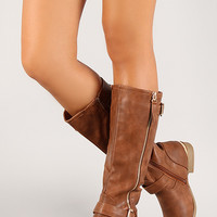 Metallic Accent Mid Calf Riding Boot