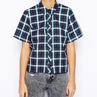 ASOS PETITE Check Boxy Sleeved Shirt