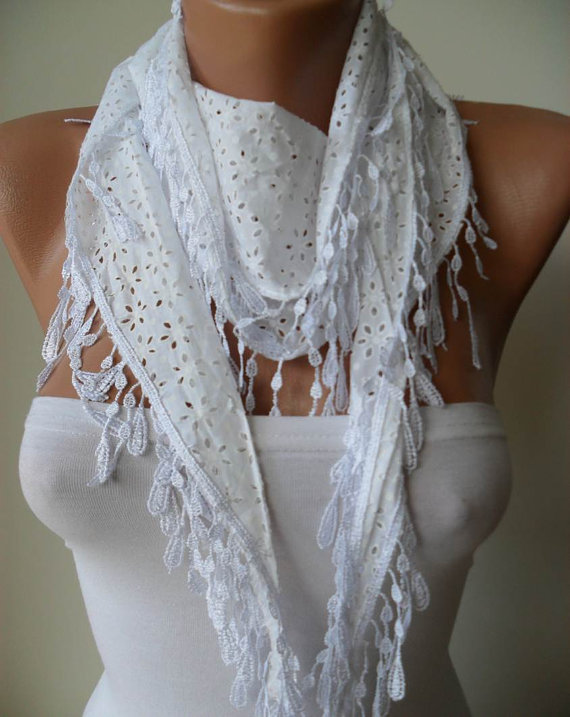 Perforated Fabric Summer Scarf - White Cotton Scarf with White Trim Edge