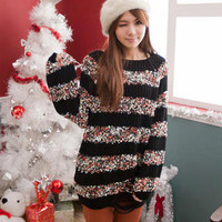 YESSTYLE: CatWorld- Distressed Nubby Knit Sweater (Black - One Size) - Free International Shipping on orders over $150