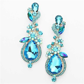 HauteChicWebstore Teardrop Floral Crystal Earrings in Aqua - www.shophcw.com