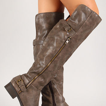 Distressed Leatherette Side Zipper Thigh High Boot