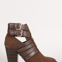 Woven Straps Faux Suede Cut Out Ankle Bootie