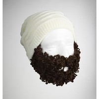Curly Pearly Brown Bearded Beanie