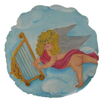Painted Cherub in the Clouds Round Throw Pillow
