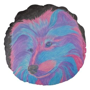 Colorful Collie Dog, Watercolor Pencil Pillow