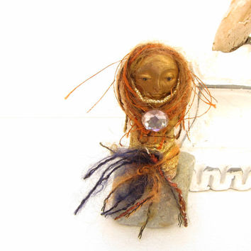 Art Doll  Black Gold Rust Princess One Of A Kind Handmade Art Doll Miniature doll Art doll Art Doll Small fantasy