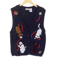 Deformed Kitty Cats Tacky Ugly Sweater Vest