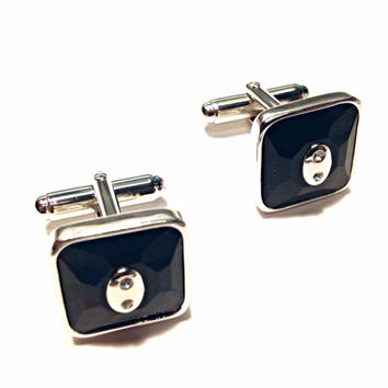 Swarovski Square Black Faceted Cufflinks with Rhinestone Crystals Bright Silver Tone