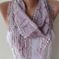 Lilac Scarf with Trim Edge - Summer Colors - New