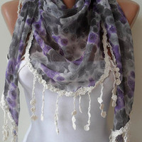 Purple and Grey Flowered Scarf - with Grey Trim Edge - Triangular