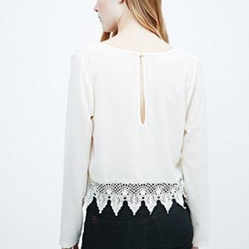 Ecote Crochet Trim Top in Ivory - Urban Outfitters