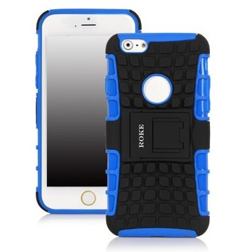 Iphone 6 Case, ROKE Iphone 6 Case, Dual Layer Hybrid Armor Protective Case Cover for Iphone 6 4.7-inch (Blue)