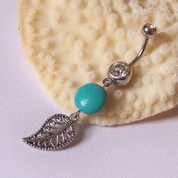 Belly Button Ring - Piercing - Curved Barbell - Navel Piercing - Tibetan Silver Filigree Leaf Charm with Magnesite Cion