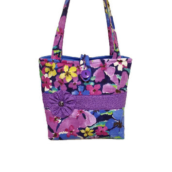 Purple handbag with button trim, Purple purse, Purple shoulder bag, Hand bag purple, Floral purse, Floral shoulder bag, Purple tote bag