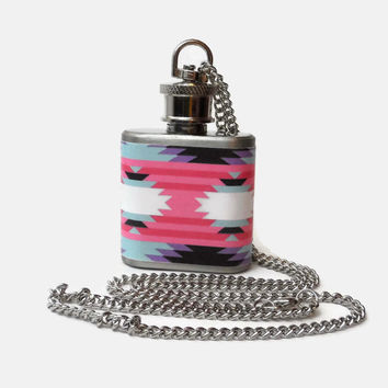 Flask Necklace 1oz - aztec geometric pink blue - Conceal under shirt or display awesomeness. Looks like normal necklace when hidden