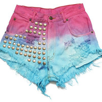Ombre dip dye high waist shorts XS
