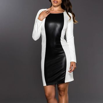 Black & White Long Sleeve Dress