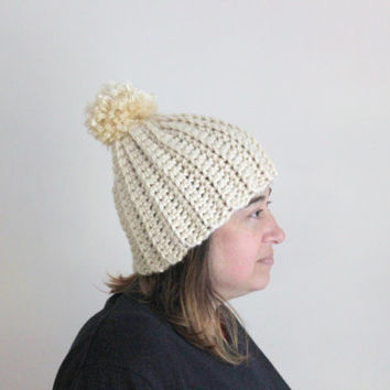 Pom Pom Beanie, Crochet, Beanie, Women's Beanie, Winter Accessories, Ribbed Beanie