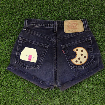 Vintage High Waisted Milk and Cookies Patched by VintageLifeCo
