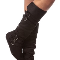 Black Faux Suede Calf Length Buckled Up Boots @ Cicihot Boots Catalog:women's winter boots,leather thigh high boots,black platform knee high boots,over the knee boots,Go Go boots,cowgirl boots,gladiator boots,womens dress boots,skirt boots.