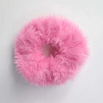 The BIG Kawaii Pink Scrunchie, Soft Baby Pink Faux Fur Scrunchy, Hair Tie, Ponytail Holder, Winter Gift